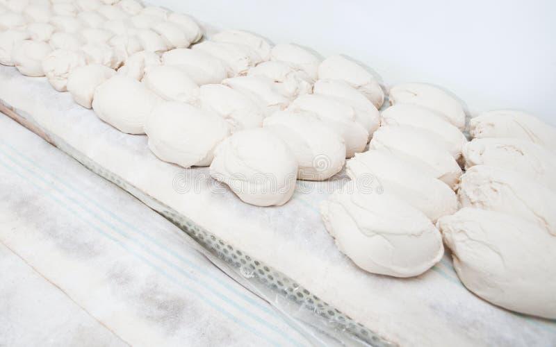 Morceaux de dought de pain avant la fermentation images libres de droits