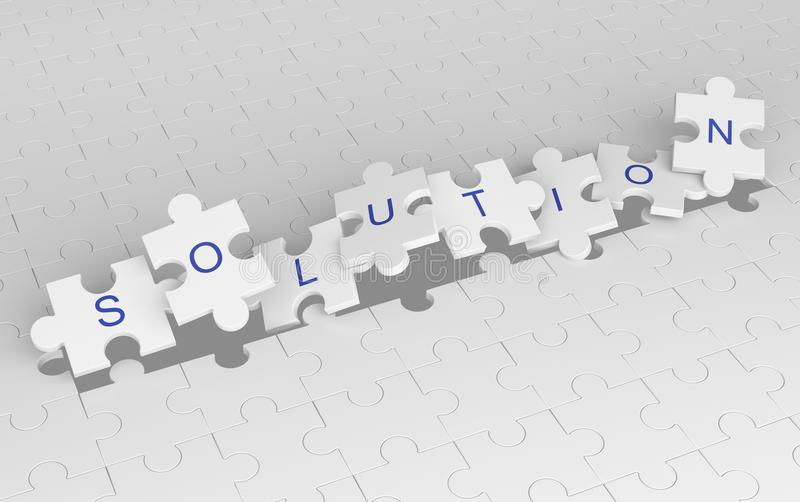 Morceaux de explosion de puzzle denteux avec le mot de solution Modèle blanc illustration stock