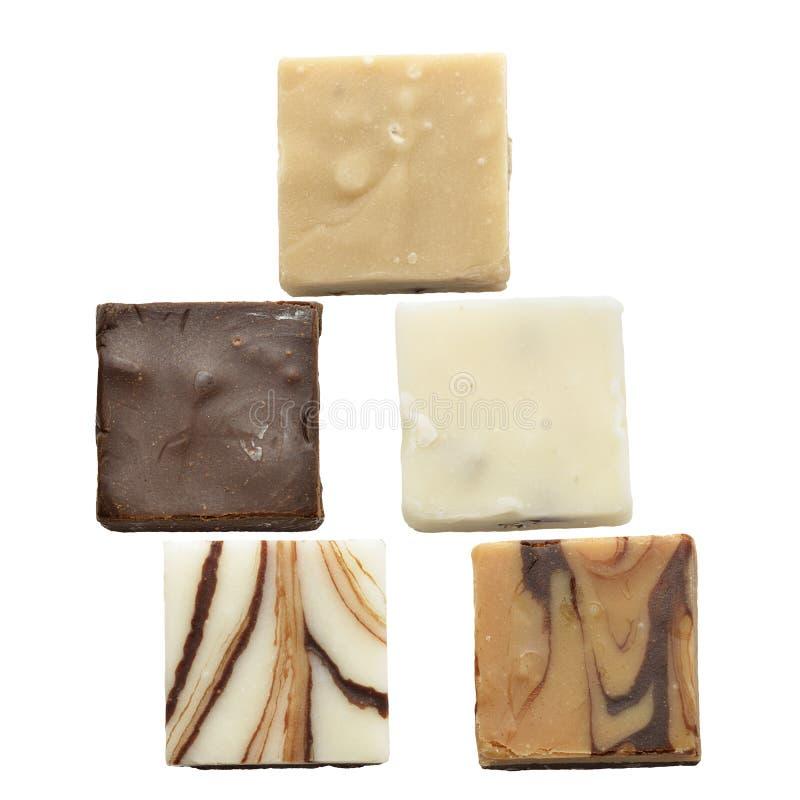 Morceaux de fondant de chocolat photo stock