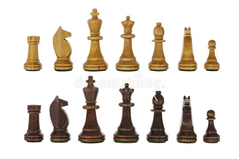 Morceaux de jeu d'échecs en bois de vintage d'isolement images libres de droits