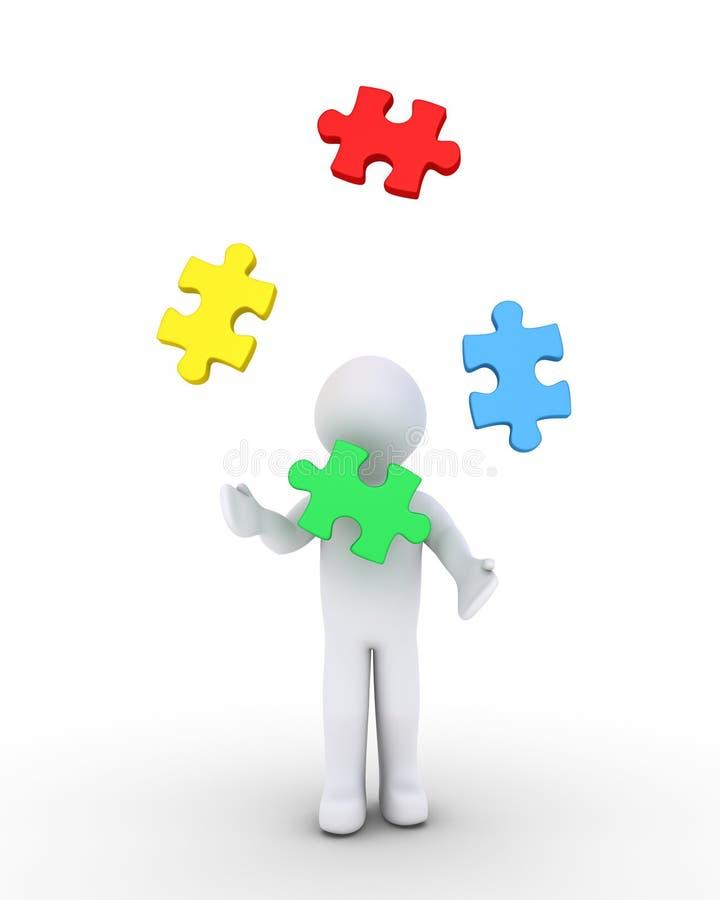 Morceaux de jonglerie de puzzle de personne illustration stock
