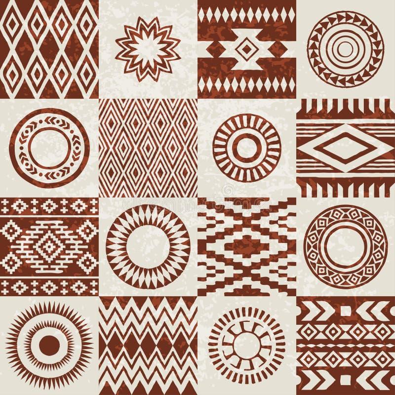 Morceaux de modèles ethniques d'Indiens d'Amerique compilés dans la texture sans couture illustration libre de droits