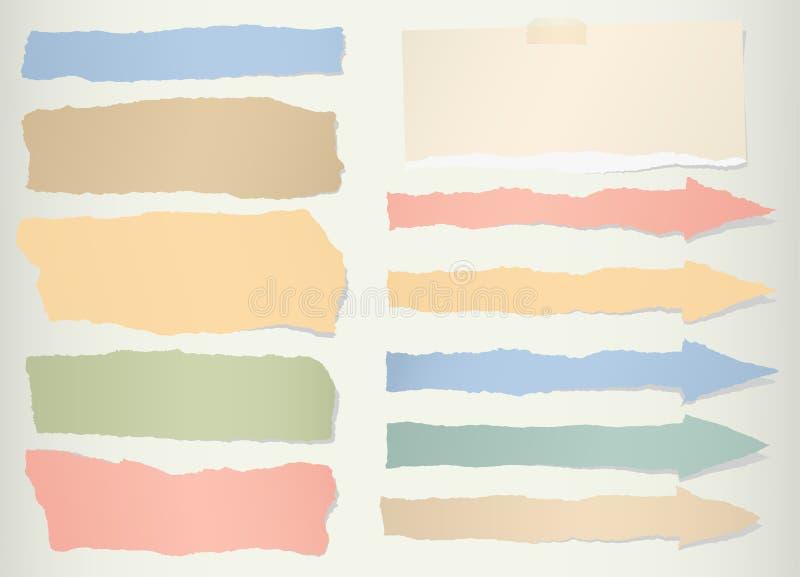 Morceaux de papier blanc coloré déchiré, symbole de flèche illustration libre de droits