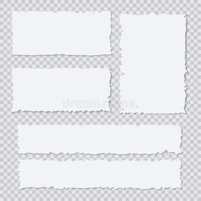Morceaux de papier déchirés blancs vides sur le fond transparent illustration libre de droits