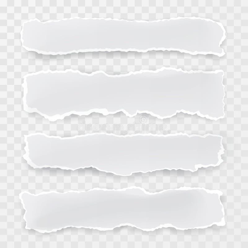 Morceaux de papier déchirés par vecteur Fond transparent Conception de papier de calibre illustration de vecteur