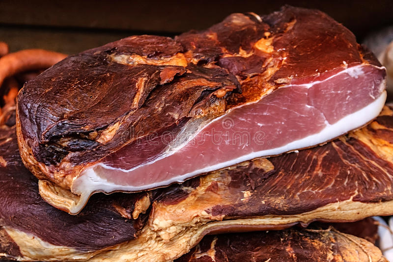 Morceaux de porc fumé bacon-2 images stock
