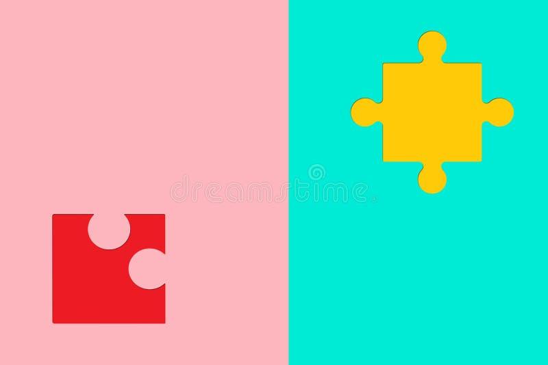 Morceaux de puzzles sur le fond coloré comme symbole d'autisme illustration de vecteur