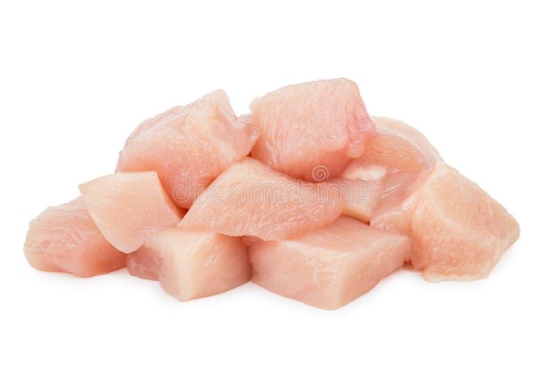 Morceaux de viande crue de poulet d'isolement sur le blanc photos libres de droits