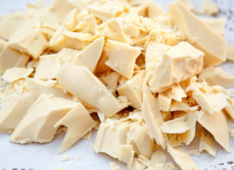Morceaux du beurre de cacao images stock