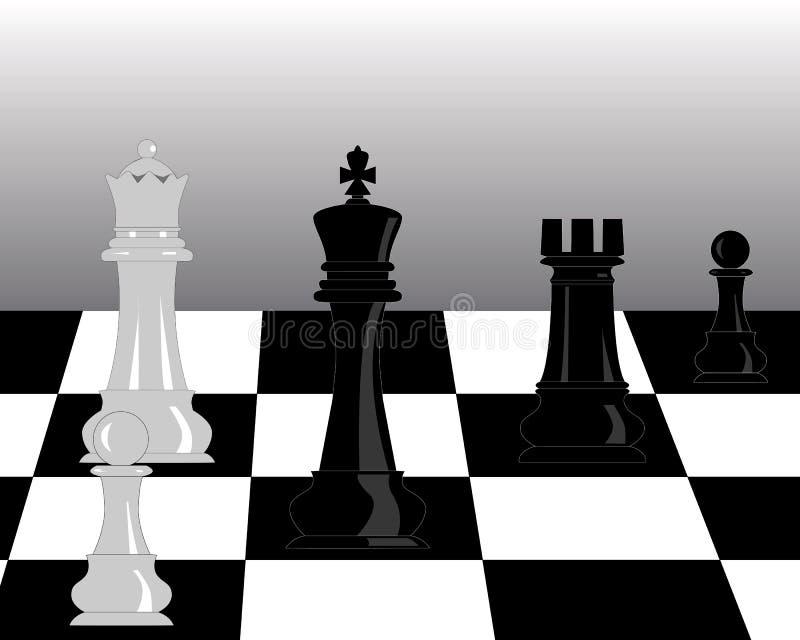 Morceaux noirs et blancs d'échecs illustration de vecteur