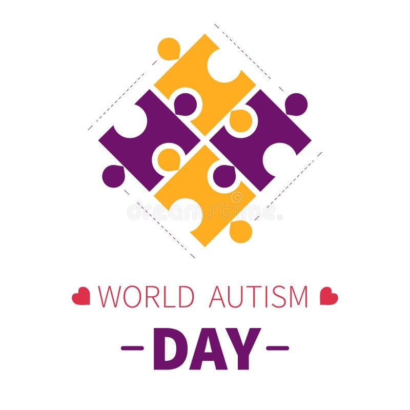 Morceaux ou puzzle de puzzle d'icône d'isolement par jour d'autisme du monde illustration de vecteur