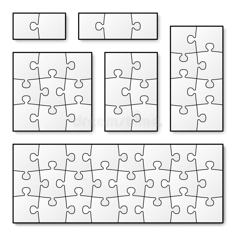Morceaux vides de puzzle de vecteur pour le jeu denteux illustration stock