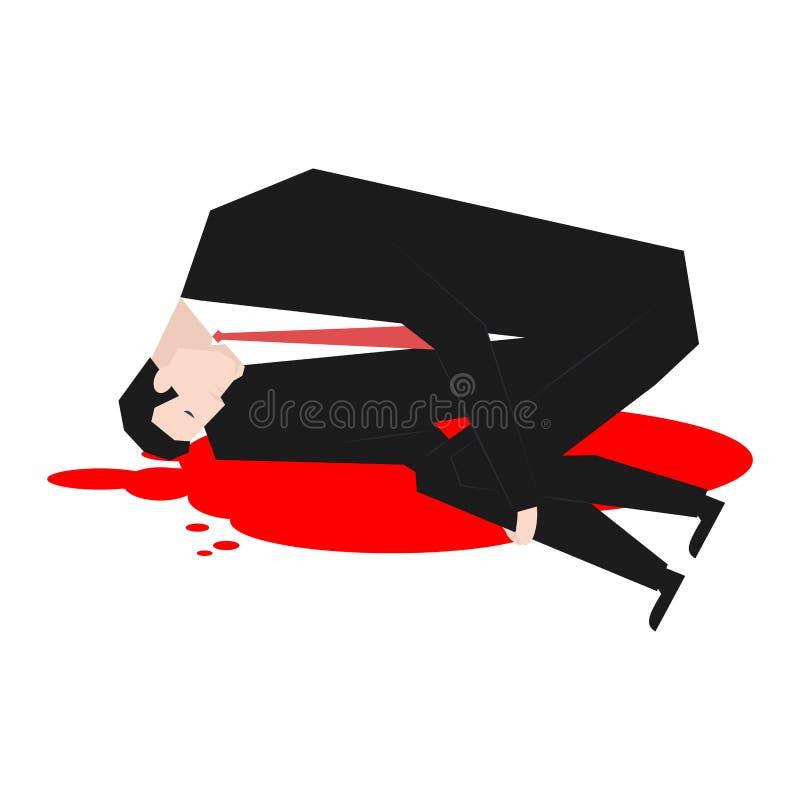 Mord av affärsmannen Dött framstickande i pöl av blod Vektor Illust vektor illustrationer