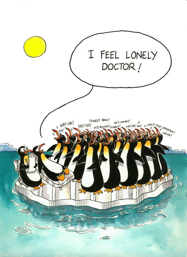 Mordaça dos desenhos animados sobre a multidão dos pinguins ilustração do vetor