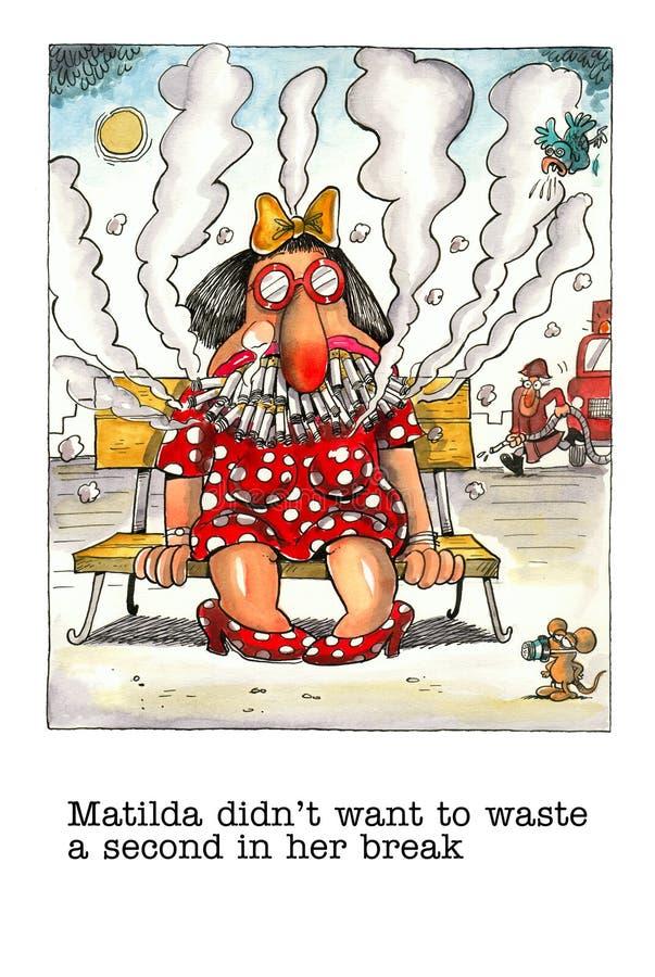 Mordaça dos desenhos animados sobre o fumador fêmea ilustração stock