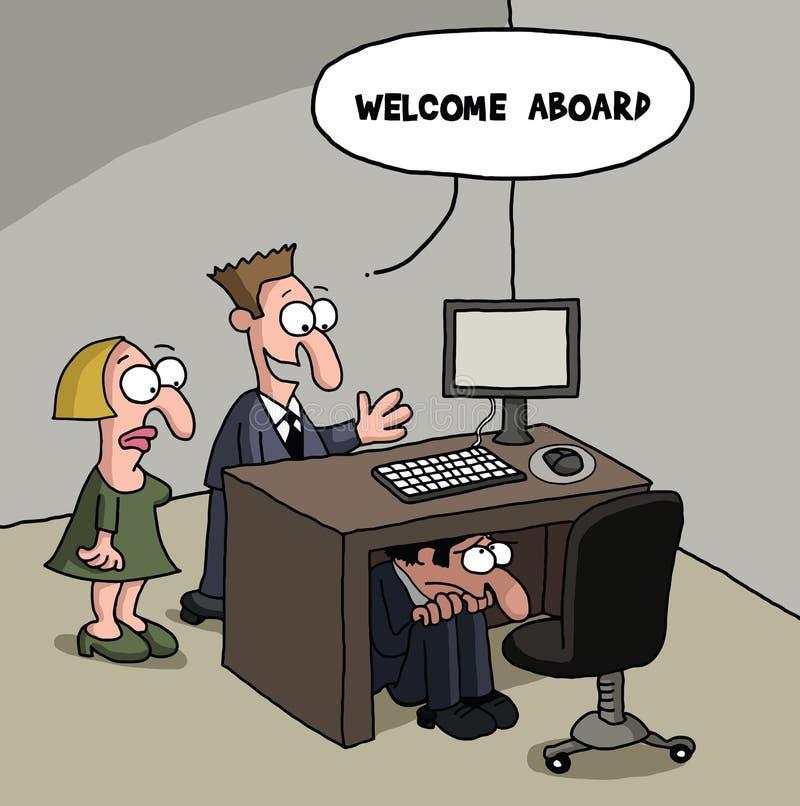 Mordaça nova masculina dos desenhos animados do trabalhador de escritório ilustração stock