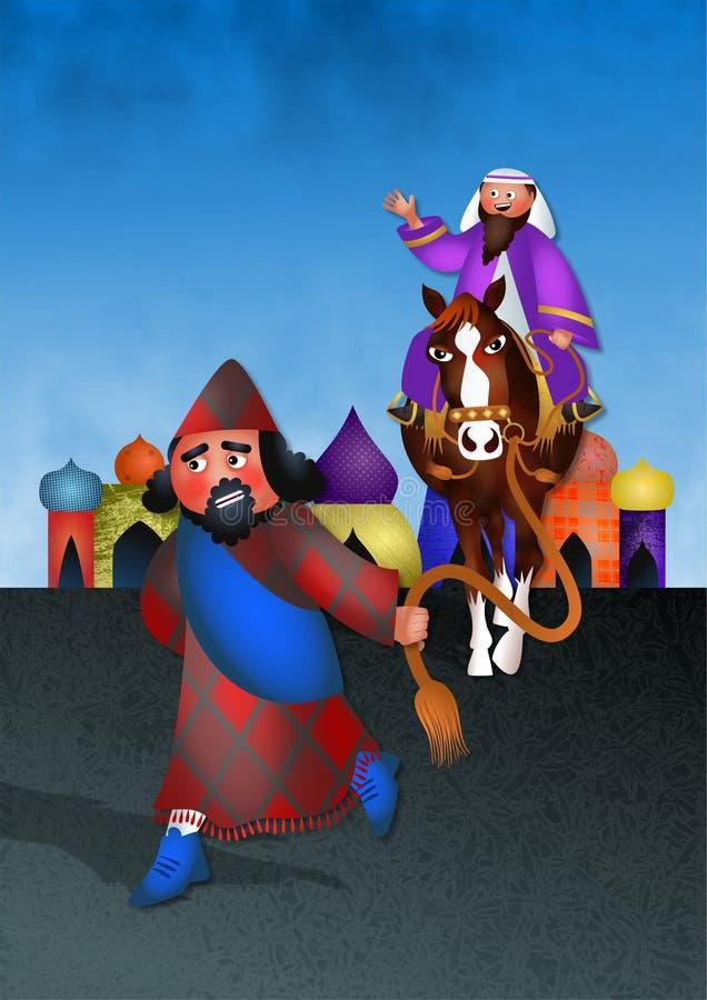 Mordecai Honoured - festmåltid av Purim vektor illustrationer