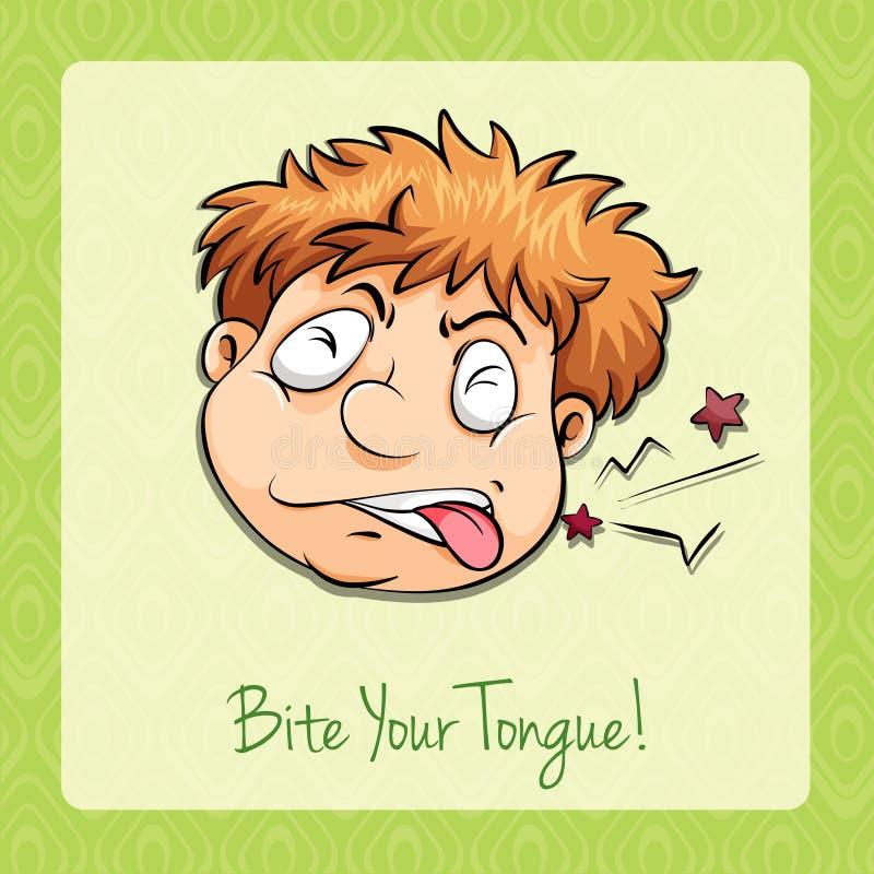 Mordedura de la frase hecha su lengua ilustración del vector