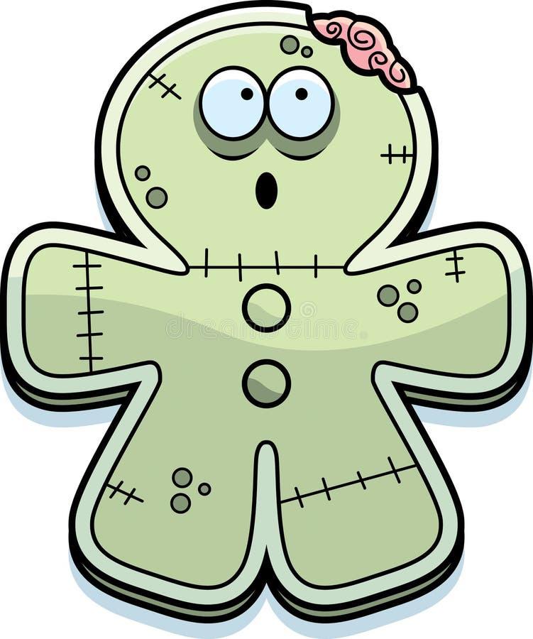Mordedura del zombi del pan de jengibre de la historieta stock de ilustración