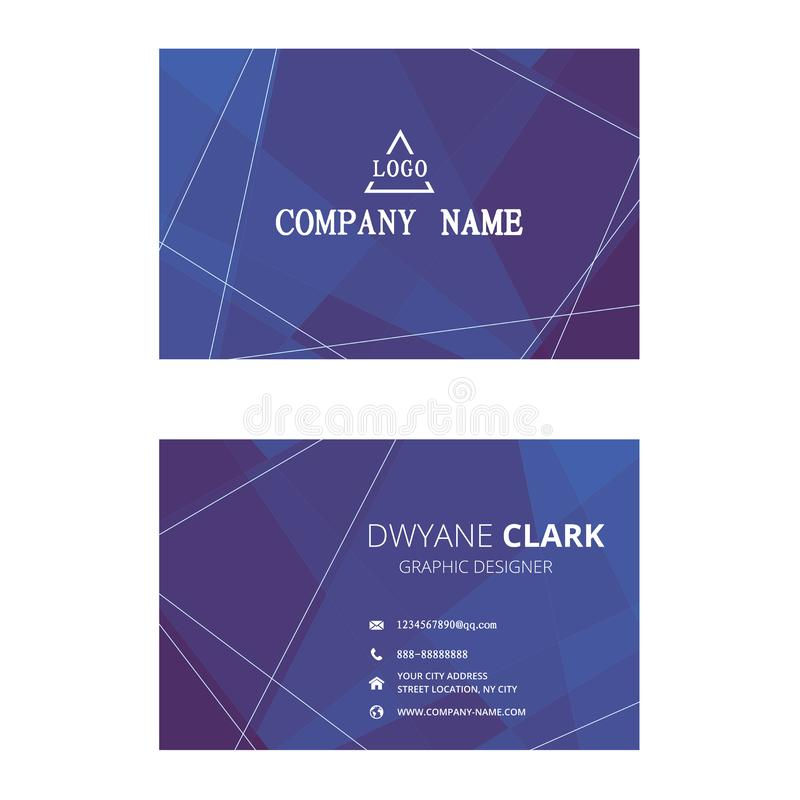 Morden business card with simple line. Blue morden business card with simple line. company card design royalty free stock image