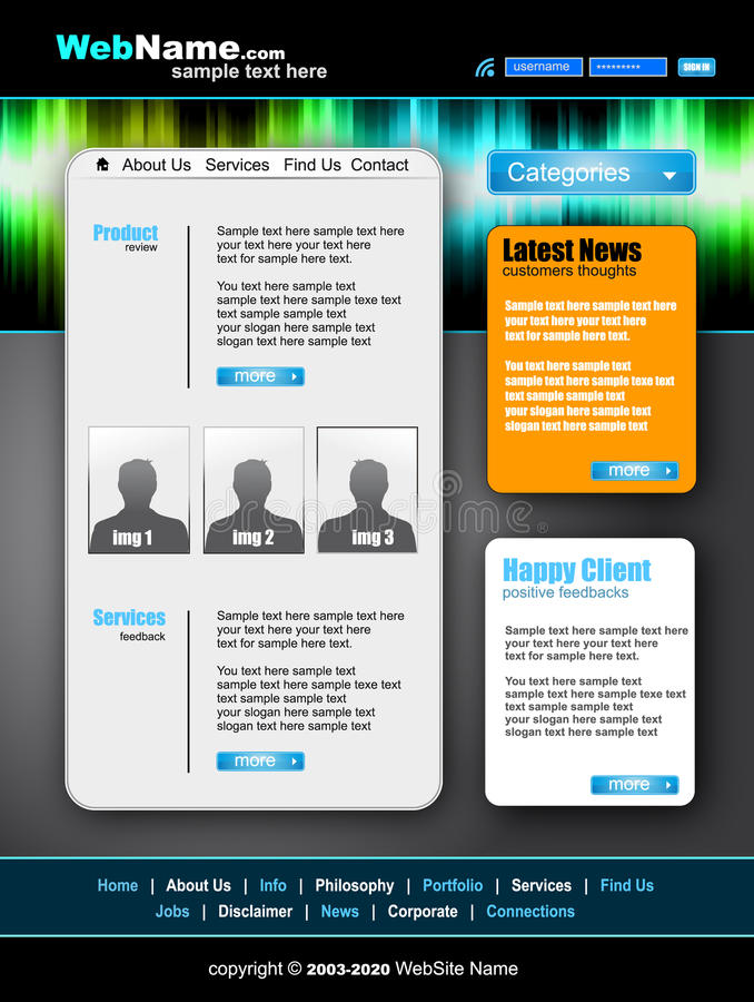 Morder and Futuristic Style WebSite Template vector illustration