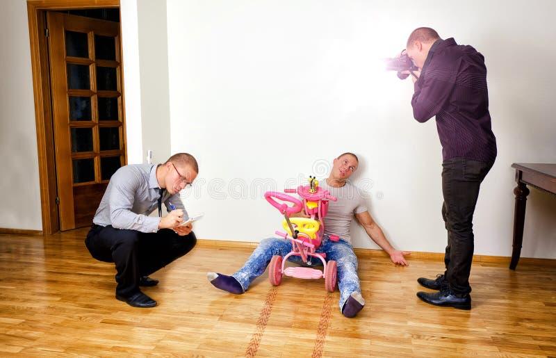 Morderstwo śmieszna scena fotografia stock