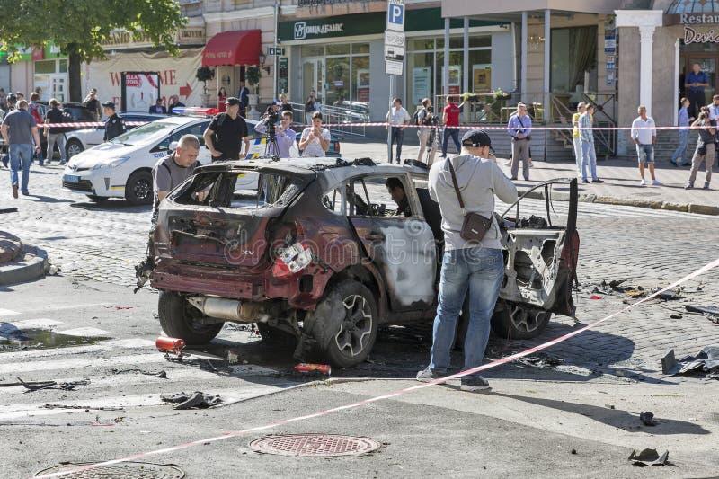 Morderstwo wybitny dziennikarz Pavel Sheremet w Kijów, Ukraina fotografia stock