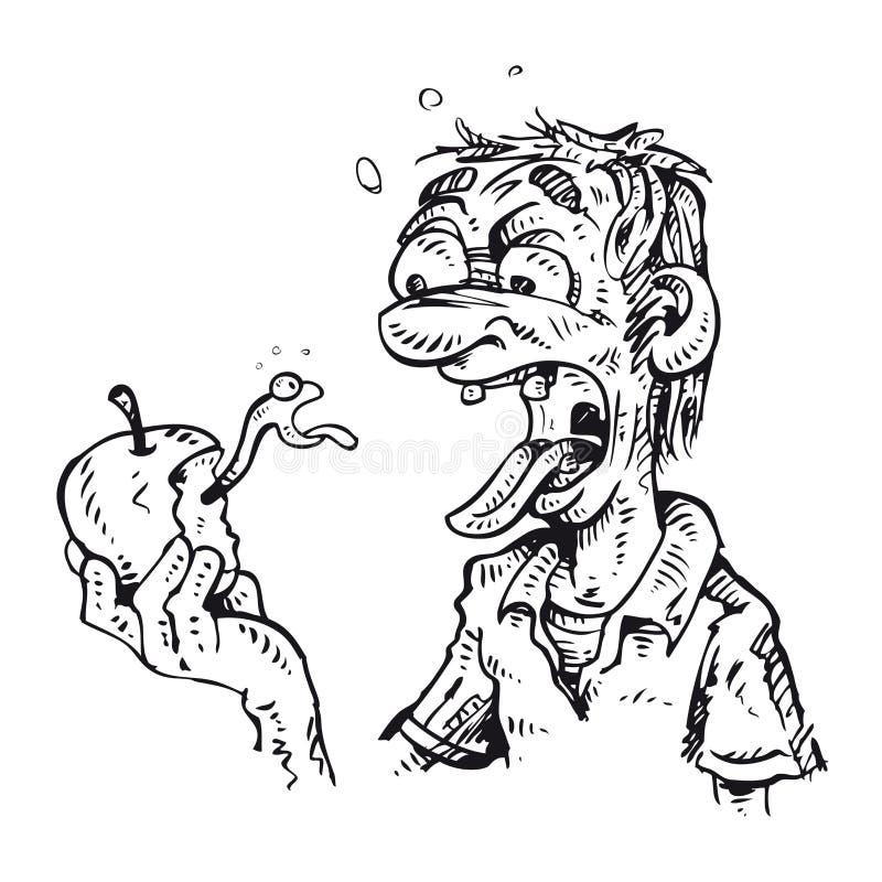 Mordidas do homem uma maçã ilustração stock