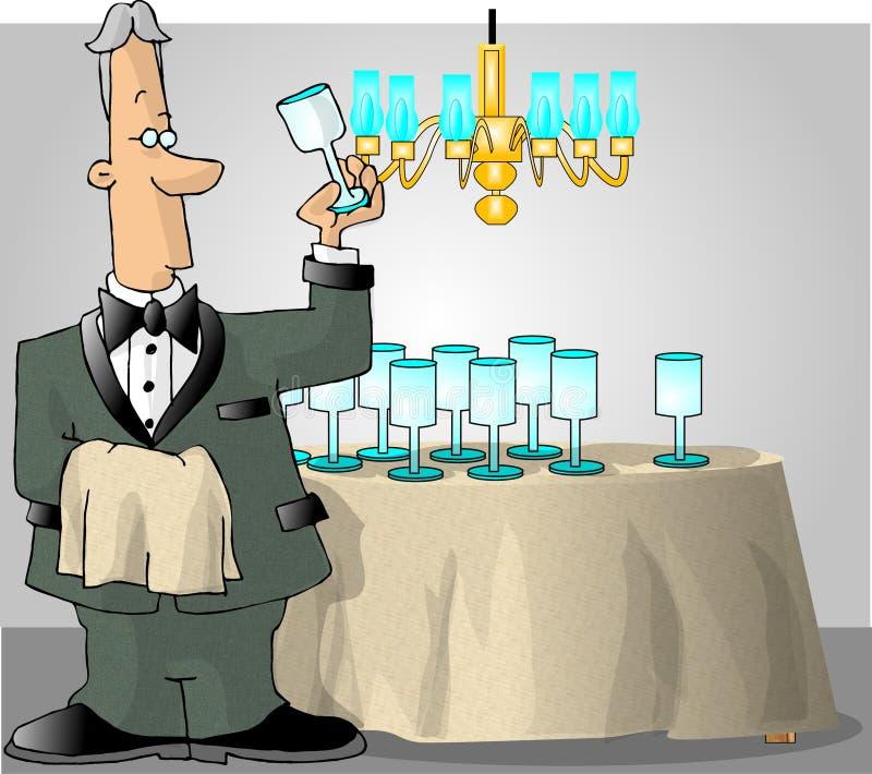Mordomo que verific os produtos vidreiros ilustração stock