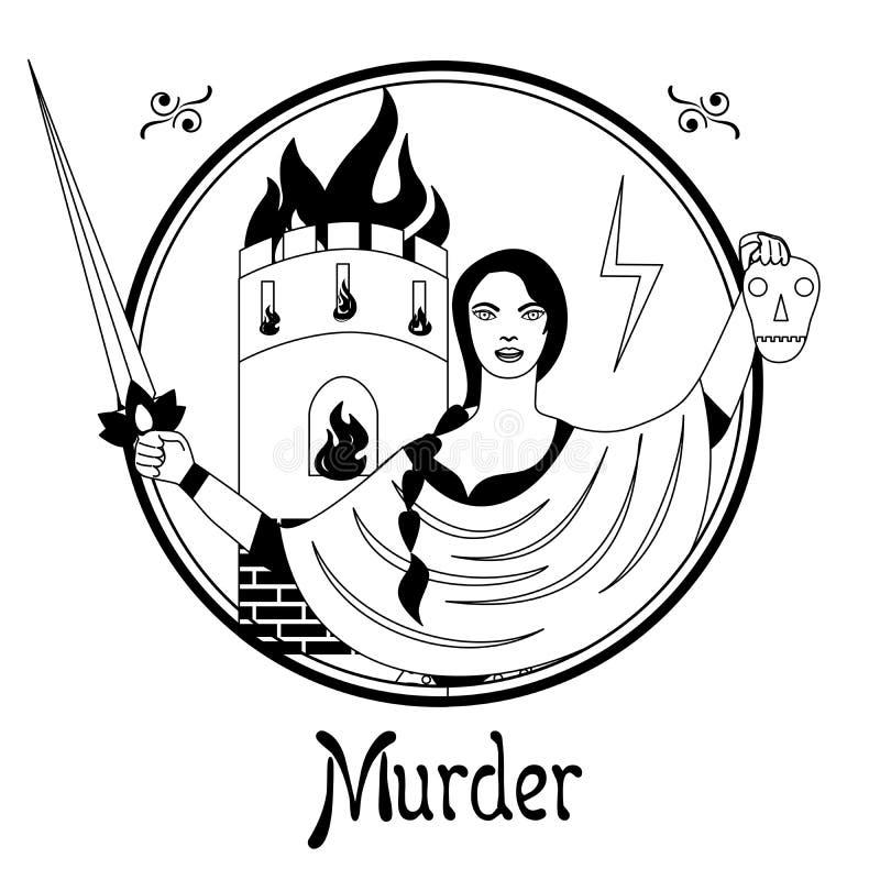 Mordsynden royaltyfri illustrationer