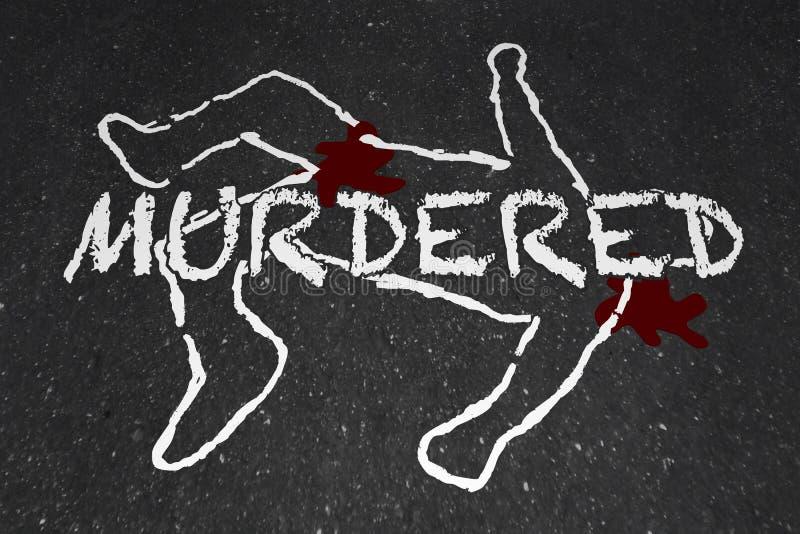 Mordująca Zabijać trup kredy konturu ofiara ilustracji
