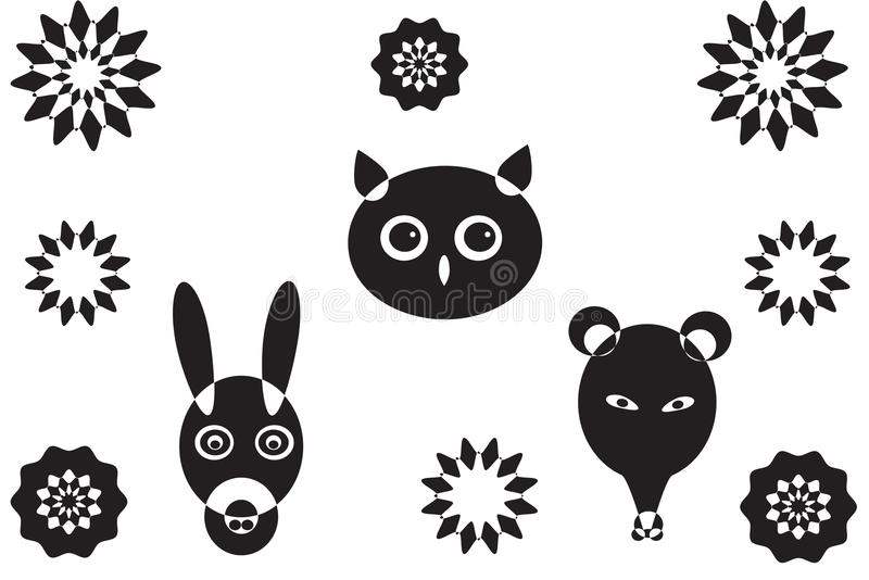 Download More Animal Heads And Flower S Stock Vector - Image: 14228700