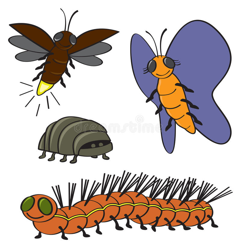 More Cartoon Bugs. Four common backyard garden bugs drawn in a cartoon style vector illustration
