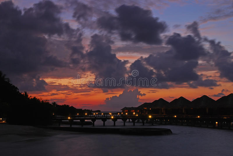 A more Closeup of Evening twilight on a tropical island paradise royalty free stock image
