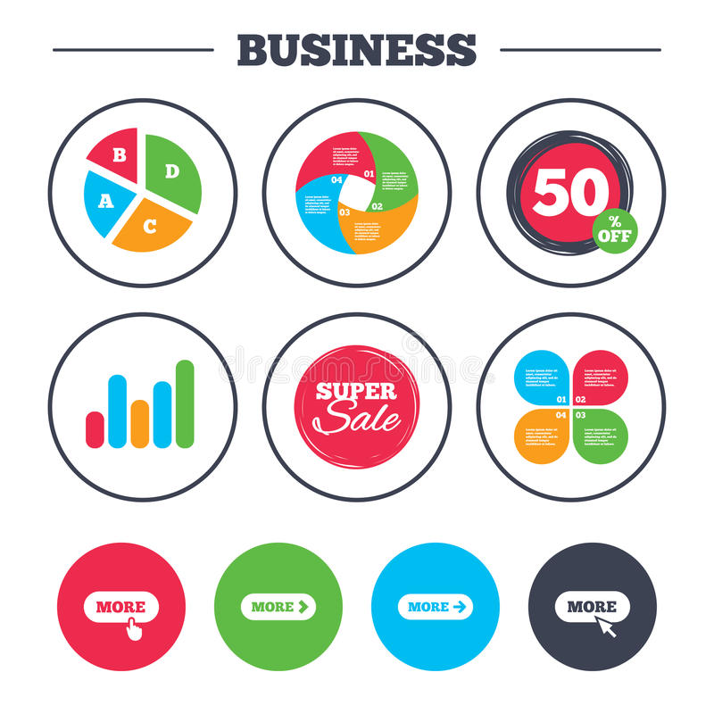 More with cursor pointer icon. Details symbols. Business pie chart. Growth graph. More with cursor pointer icon. Details with arrow or hand symbols. Click more stock illustration