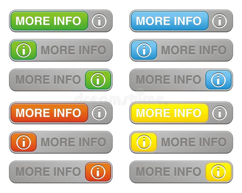 Download More info button sets stock illustration. Image of internet - 33093414