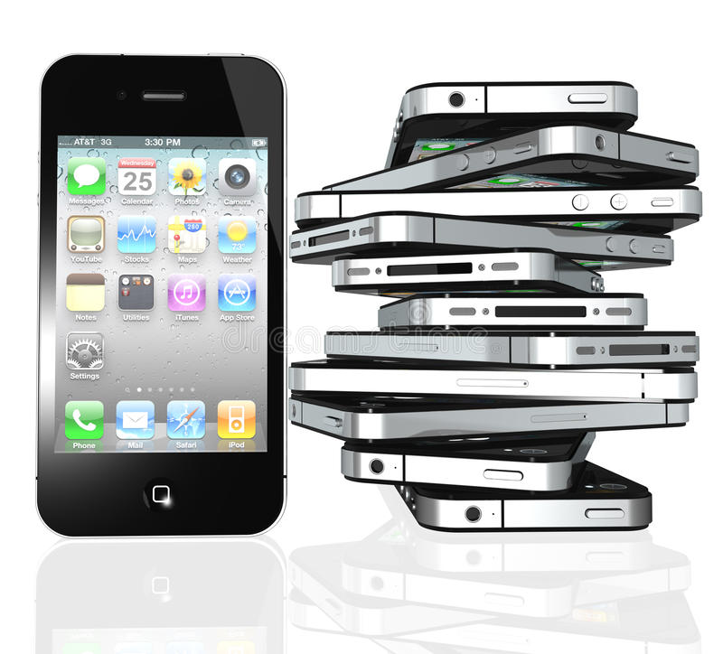 More iPhone 4s screen home apps vector illustration