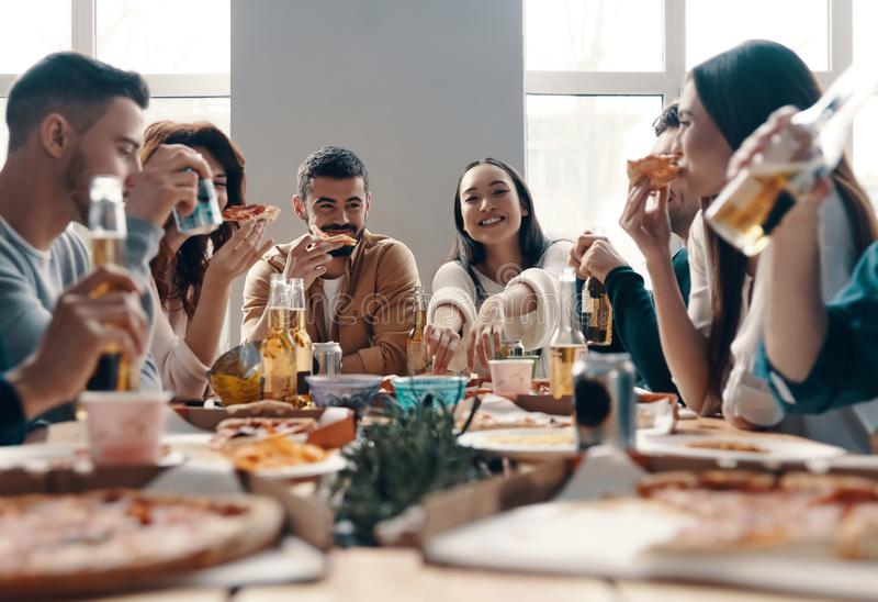 More laugh with friends. stock photo