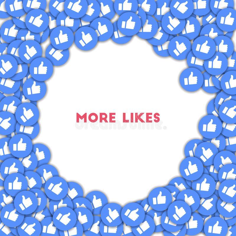 More likes. Social media icons in abstract shape background with scattered thumbs up. More likes con stock illustration