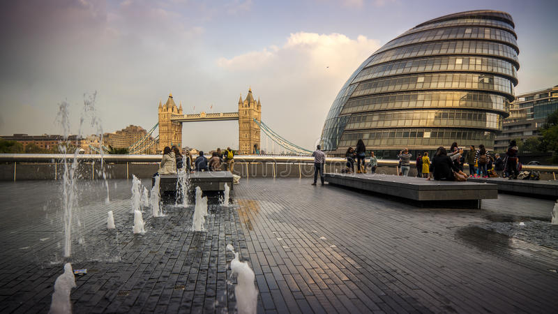 More London, City Hall and Tower Bridge royalty free stock photo