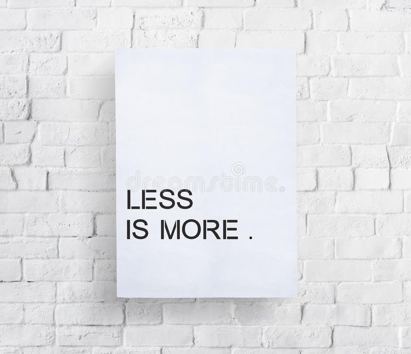 Less is More Minimal Simplicity Easiness Plainness Concept royalty free stock images