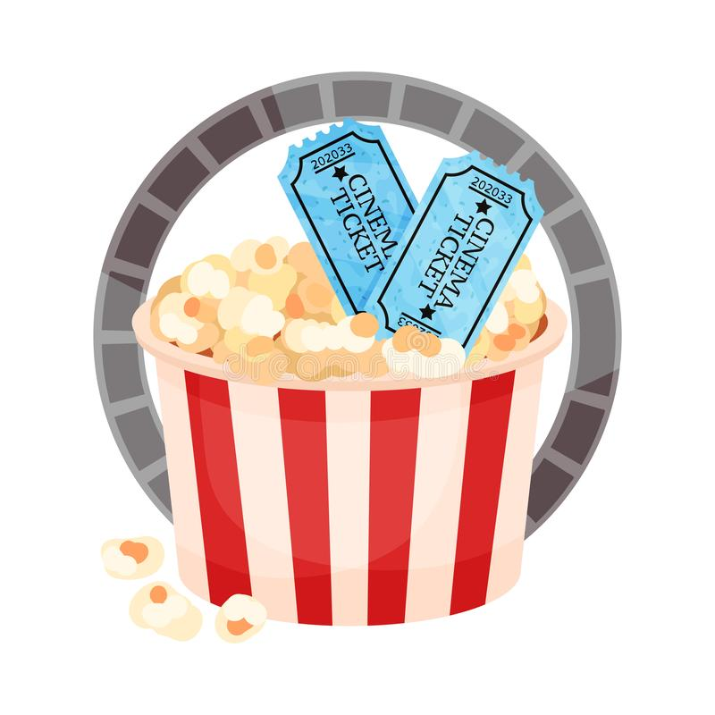 More paper bucket with popcorn and tickets. Vector illustration on a white background. More paper striped bucket with popcorn, tickets inside the film ring vector illustration