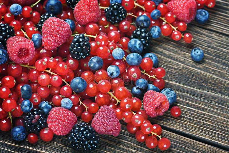 More, uva passa, lamponi, mirtilli su una linguetta di legno fotografia stock