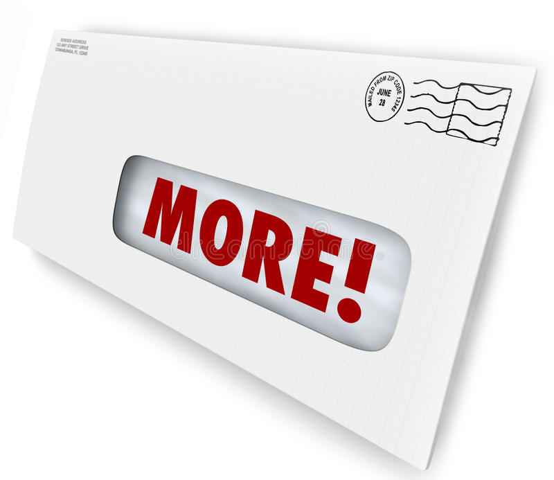 More Word Envelope Increase Improve Results Marketing Mailing. More word on envelope to illustrate raising or increasing your rate of response to marketing or stock illustration