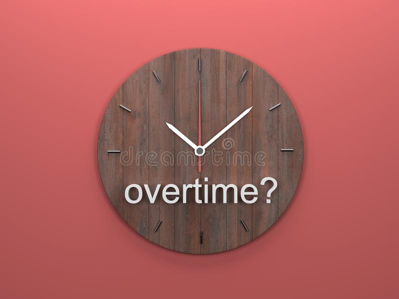 More work, more time. Overtime Working Extra Added Hours Clock Words in 3d Illustration vector illustration