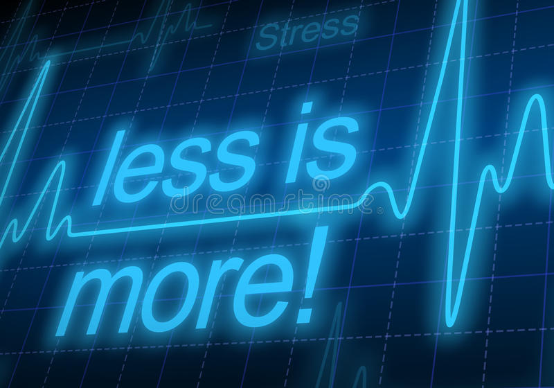 Less is more - written on blue heart rate monitor. Expressing warning on heart condition, too much stress vector illustration