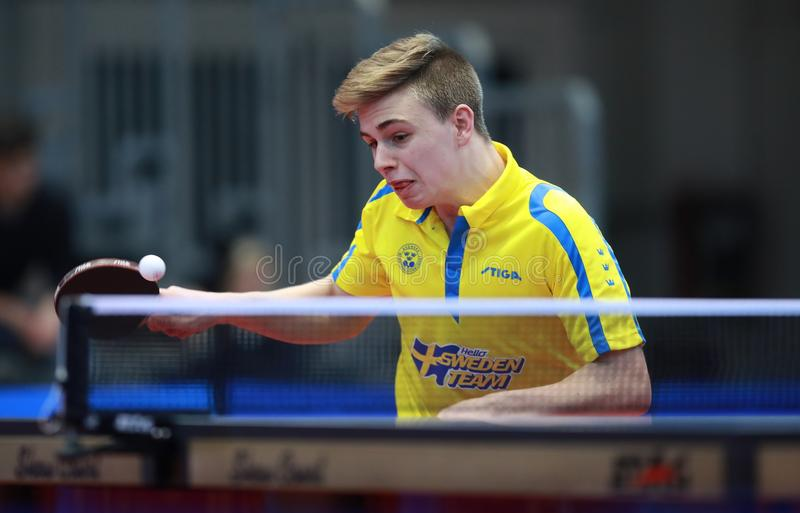 MOREGARD Truls from Sweden top spin. Riva del Garda, ITALIA, 30 Nov 2017. MOREGARD Truls from Sweden top spin at the 2017 ITTF World Junior Championships stock photo