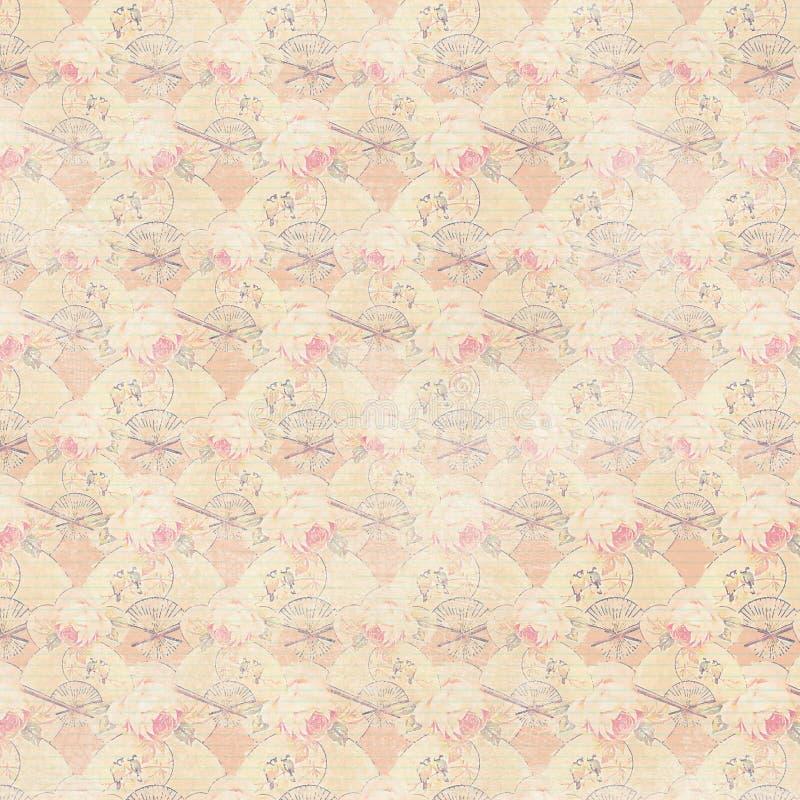 Morela wianku różowe antykwarskie róże i fan powtarzają tło ilustracji