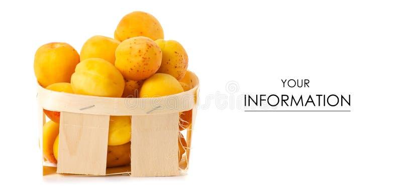 Morele w koszykowym pomarańczowym owoc wzorze zdjęcia stock
