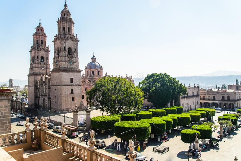 Morelia cathedral in Michoacan Mexico royalty free stock photo